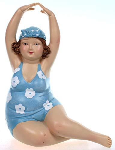 Badenixe sitzend Links im blauen geblümten Badeanzug und Armen über Kopf 15 cm Mädchen Rubensfrau mollige Dame Dicke Frau Schwimmerin Badezimmer Figur