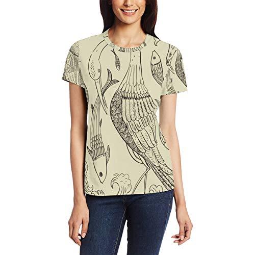 Proboscis vogel vangen vis vrouwen casual T-shirt korte mouw tuniek tops ronde hals blouse Comfy