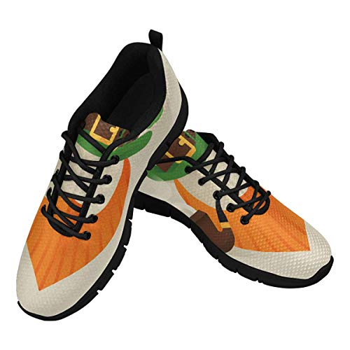 INTERESTPRINT Leprechaun with Green Hat Women's Lace Up Breathable Non Slip Sneaker US10