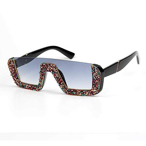 Gafas De Sol Cuadradas De Lujo para Mujer Diseñador De La Marca para Mujer Gafas De Sol De Diamantes De Imitación De Gran Tamaño Hombres Gafas De Medio Marco para Mujer Uv400 Mixrhinestone