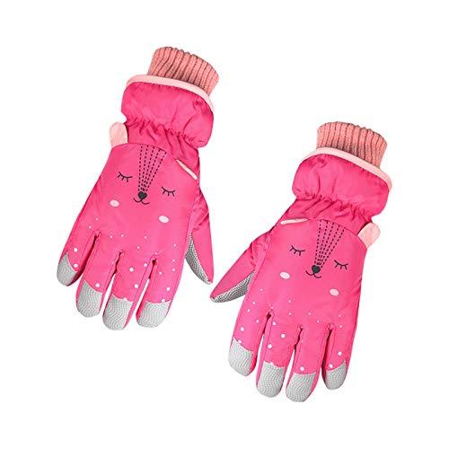 Lomelomme Skihandschuhe Kinder Winter wasserdichte Schneehandschuhe Cartoon Kinder Handschuhe Verdickt Warm Winterhandschuhe für 7-13 Jahre Jungen Mädchen Skifahren Wandern Radfahren