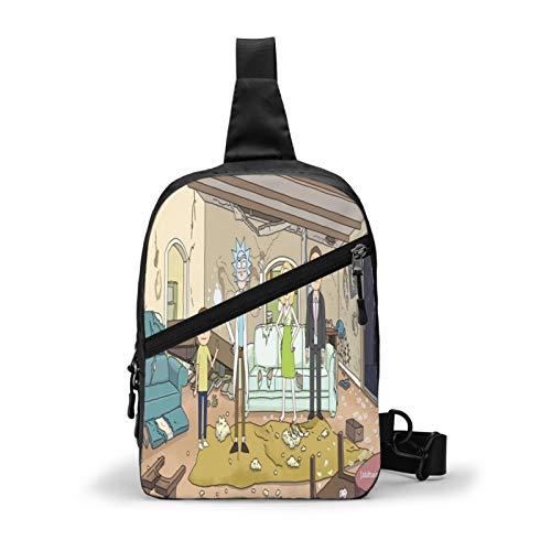 Rick And Morty Men'S Messenger Bag Leather Chest Bag Shoulder Bag Messenger Travel