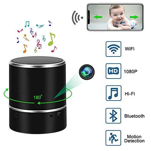 Cámara Espía UYIKOO Cámara Oculta Espía 1080P WiFi Altavoces Bluetooth Cámara Espía Oculta Rotación Horizontal 180° Cámara Oculta Detección de Movimiento en Tiempo Real Ver Vigilancia de levas