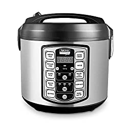 Digital Rice Cooker, Food Steamer, Slow Cooker, Stainless Exterior/Nonstick Pot