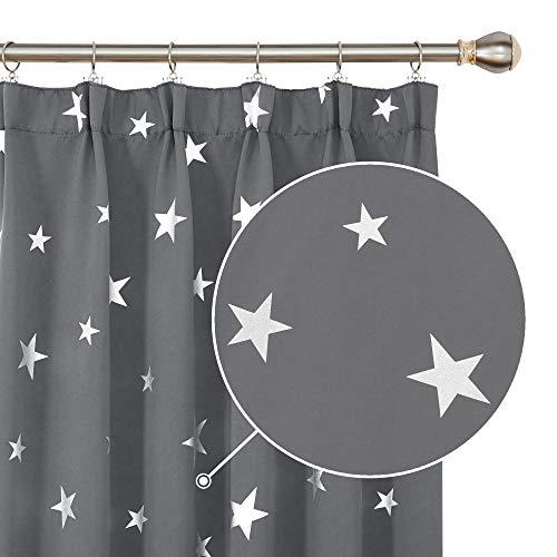 Deconovo Vorhang Thermovorhänge mit Sterne Gardine Kräuselband Speisezimmer 242x132 cm Hellgrau 2er Set