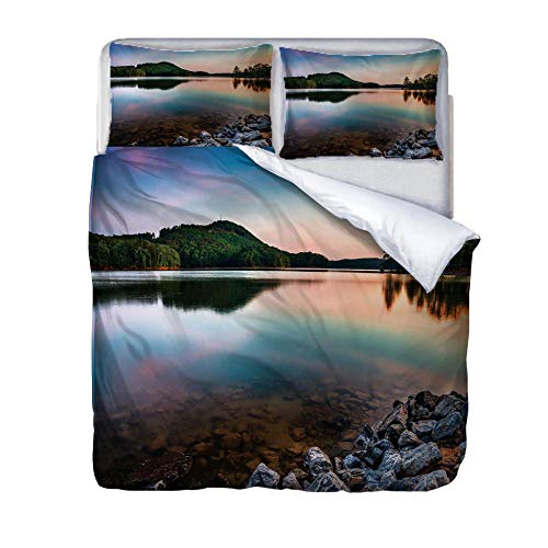 zzqxx Home Superking Duvet Cover Set landscape Bed Set Quilt Cover with Zipper Soft 100% Polyester Includes 2 Pillow Cases 3D Printed Bedding for Boys Girls Adults 260x220cm