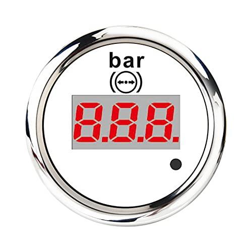 Varadyle Medidor de PresióN de Aire Digital de 52 Mm 0-10 Bar Indicador de Medidor de Acero Inoxidable Universal Luz de Fondo Roja con Alarma Blanca