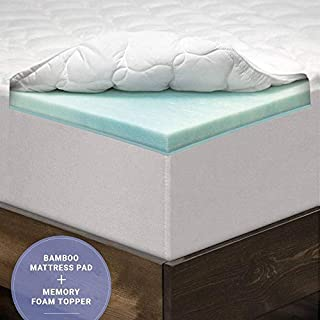 eLuxurySupply 3 Inch Pillow Top Memory Foam Mattress Topper King - Dual Layer Bamboo Mattress Pad Made in The USA