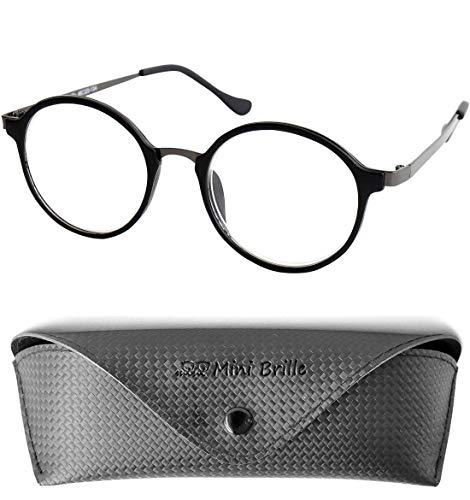 Nerd Leesbril Grote Ronde Lenzen, GRATIS Etui, Plastic Frame met Metalen details (Zwart), Leeshulp Vrouwen en Mannen +2.5 Dioptrie