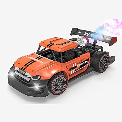 ZDYHBFE Coche De Control Remoto, 1/16 Escalas Drift Spray RC Cars con Luces LED Y Lanzador De Spray, Recargable Eléctrico Sport Hobby RC Cars Juguetes Regalos para Niños De 3 4 5 6 7 8 9 Años De Edad