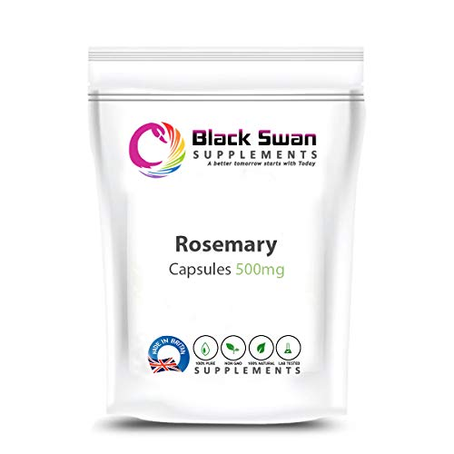 Black Swan Rosemary 500mg Capsules Supplement – High Anti-oxidant and Anti-inflammatory Properties – Immune System – Digestive System – Healthy Joints and Memory (60 Caps)