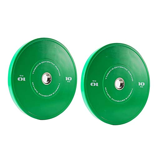 Acher Bumper Weight Plates Set, 10KG/20KG/30KG/40KG Dumbbell Weightlifting Plates Full Rubber Covered Barbell Power Lifting Plates for Home Training/Gym Exercise/Workout (Size : 20KG)