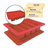 Butter Mold Silicon Tray 8 US Tablespoons 0.25lb 4-ounce The Butter Maker with Lid for Butter Stick Red Butter Mold …