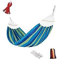 Zixin Rayas palillo de Madera Hamaca, Lona Gruesa, con Palos de Madera, 79Inx59in, Camping Hamaca, Fuerte, Bolsa de Viaje, Rojo (Color : Blue)