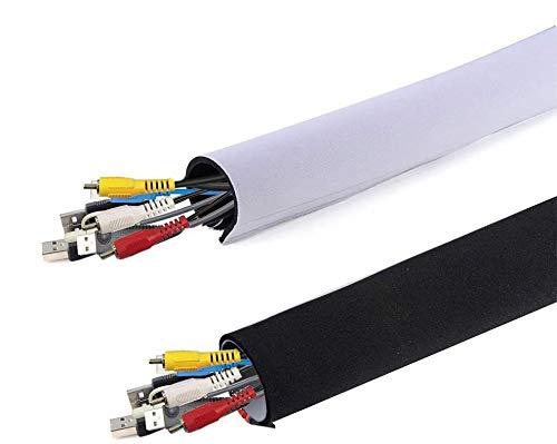AGPTEK Universeller Neopren Klettverschluss Kabelschlauch Kabelkanal aus Neopren Flexibler und wiederverwendbarer mit Klettverschluss, bis zu 10cm, Länge 1,50m, Schwarz und Weiss