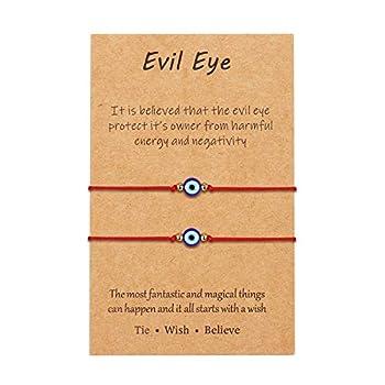 Evil Eye Red String Bracelet Adjustable Ojo Turco Kabbalah Protection Amulet Good Luck Nazar Bracelet for Women Men Family Best Friend