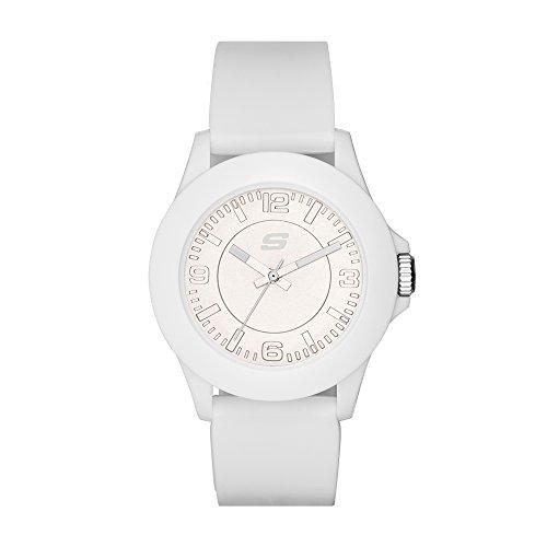 Skechers Women's Rosencrans Mid Quartz Casual Sports Silicone Three-Hand Analog Watch, Color: White (Model: SR6023)