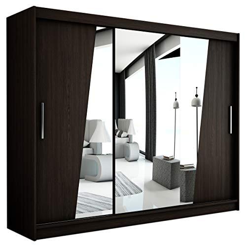 Kryspol Schwebetürenschrank Rhomb 250 cm mit Spiegel Kleiderschrank mit Kleiderstange und Einlegeboden Schlafzimmer- Wohnzimmerschrank Schiebetüren Modern Design (Wenge)