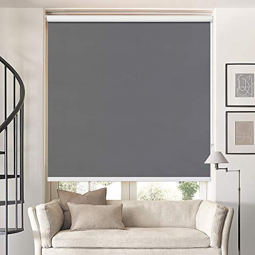 Keego Window Shades Black Out for Bedroom Room Darkening Roller Shades with Back in White Waterproof and Oil Resistant for Privacy Nursery and Kitchens[Customer]