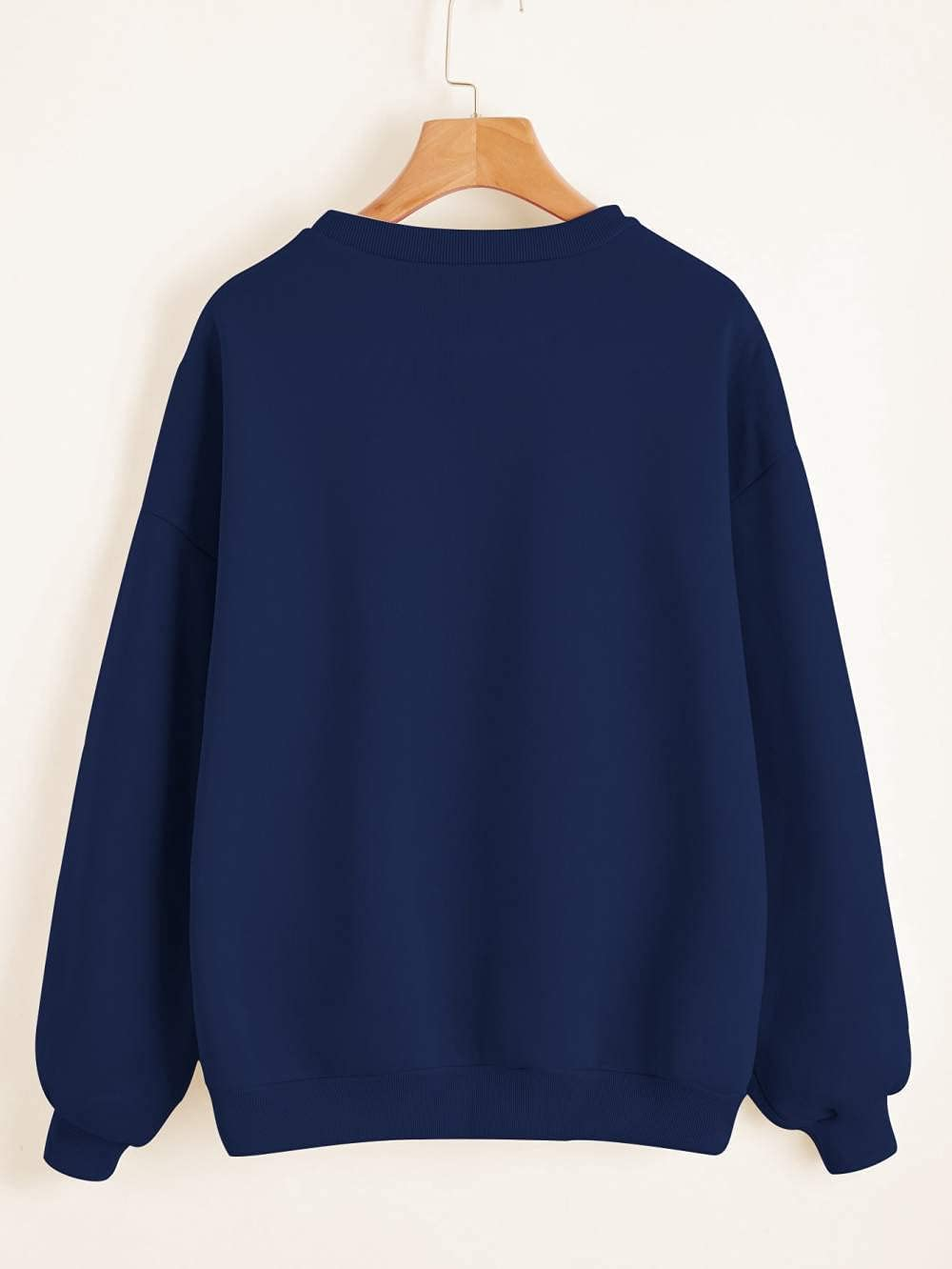 JIAJING Fall Shoulders Solid Color Pullover-S_Navy Blue
