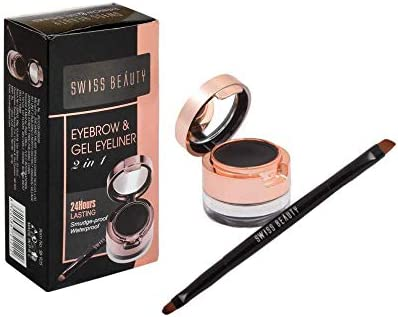 Swiss Beauty Eyebrow &gel Eyeliner 2 In 1, Eye MakeUp, Black-01, 7g