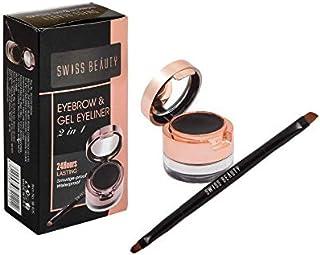 Swiss Beauty Eyebrow &gel Eyeliner 2 In 1, Eye MakeUp, Black-01, 7g