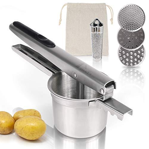Amazy Kartoffelpresse inkl. 3 Siebeinsätze, Muskatreibe und Kartoffelsack – Spülmaschinenfeste Presse aus Edelstahl für die Zubereitung von Kartoffelpüree, Klößen, Gnocchi & Co. (rund)
