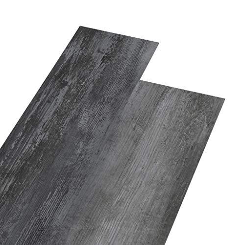 vidaXL PVC Laminat Dielen Rutschfest Vinylboden Vinyl Boden Planken Bodenbelag Fußboden Designboden Dielenboden 5,26m² 2mm Glänzend Grau
