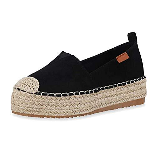 ORANDESIGNE Sandalias para Muje Zapatillas Moda Alpargatas Básica Trenzado Tacón Plano Slip-on Playa Casual Fiesta Zapatos Vestir Elegantes Retro Sandalias