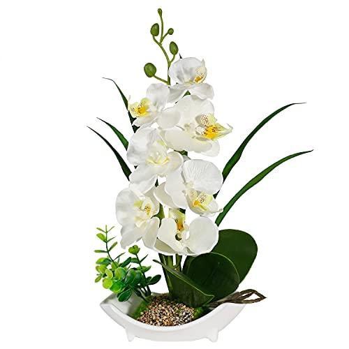 Flores artificiales de orquídea con jarrón de porcelana blanca, decoración de centro de Bonsai artificial, flores de plástico, realista y realista