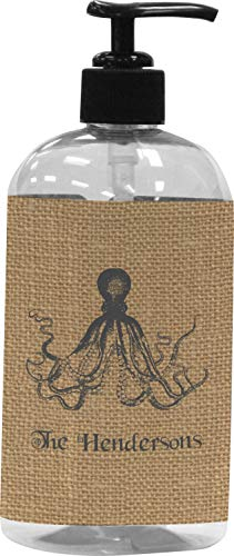 RNK Shops Octopus & Burlap Print Plastic Soap/Lotion Dispenser (16 oz - Large - Black) (Personalized)