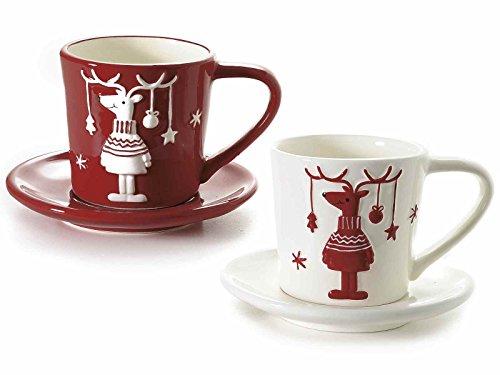 Gruppo Maruccia Set Quattro TAZZINE In Ceramica Con Renne Idea Regalo Natale