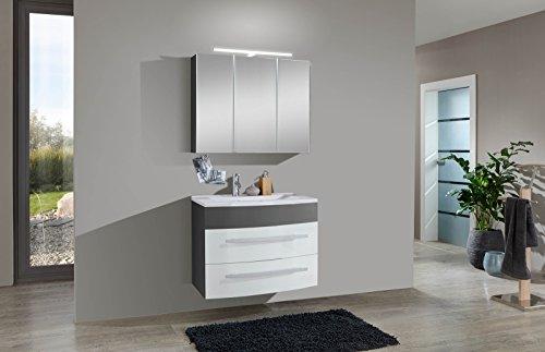 SAM® Design Badmöbel-Set Genf 2tlg, in weiß-grau, 80 cm Breite, Mineralgussbecken, Türen und Schubladen mit Softclose-Funktion, Badezimmer-Set bestehend aus 1 x Spiegelschrank, 1 x Waschplatz