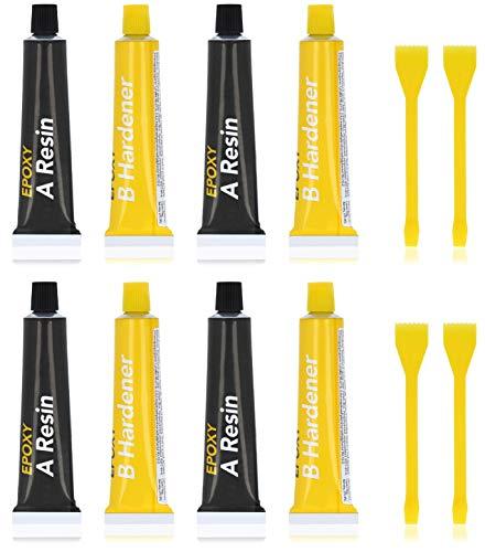 com-four® 80ml 2-Komponenten Epoxidharz-Kleber mit 4X Kunststoffspachtel, 40ml Harz und 40ml Härter für Reparaturen rund ums Haus (080 ml)