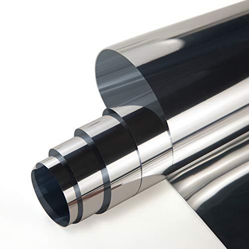 ZJELKY Folie Fenster Verdunkelungsfolie Fensterfolie Spiegel Tönungsfolie Kratzfest Wärmeisolierung UV-Schutz Silber (42 x 200 cm)