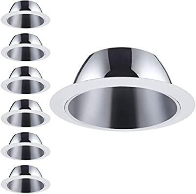 4 Pack 6 Inch Recessed Can Light Trim with Satin Nickel Metal Step Baffle
