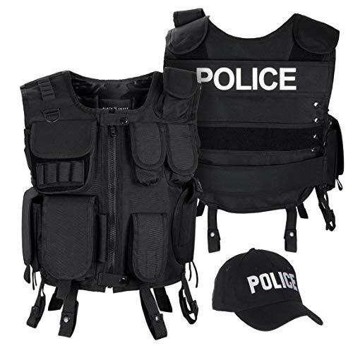 Black Snake SWAT FBI Security Police Agenten Kostüm Einsatzweste und Baseball Cap - XL/XXL - Police