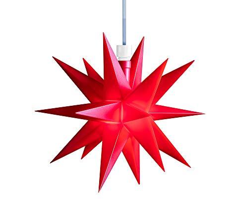 3D LED Stern Ø 12 cm Weihnachtsstern Ministern Stern Fenster Deko innen 5m Kabel + Trafo von Dekowelt (Rot)
