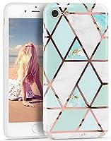 Imikoko iPhone 8 ケース iPhone 7 ソフトケース 耐衝撃 大理石 かわいい ストラップホール付き ブランド 水洗可能 TPU スマホケース (アイフォン7/8 緑&白)