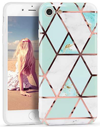 Imikoko Hülle für iPhone 7/iPhone 8/iPhone SE(2020) Glitter Bling Rosegold Handyhülle TPU Silikon Weiche Schlank Schutzhülle Handytasche Flexibel Hülle Handy Hülle
