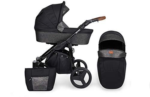 KUNERT Kinderwagen ROTAX Sportwagen Babywagen Autositz Babyschale Komplettset Kinder Wagen Set 2 in 1 (Schwarz mit Blitz, Rahmenfarbe: Schwarz, 2in1)
