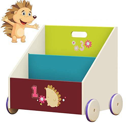 Labebe Kid Bookshelf with Wheels, Green Hedgehog Wood Bookshelf for Kid 1 Year Up, Baby Bookshelf/Child Bookshelf/Toddler Bookshelf/Kid Book Storage/Kid Room Bookshelf/Kid Book Rack Display/Book Shelf