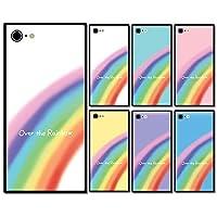 スマホケース スクエア ガラス 四角 レインボー 虹 01:ホワイト iphone7 iphone8 iphoneSE(第二世代)