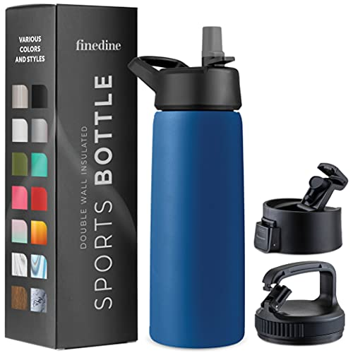 Triple-Insulated Stainless Steel Water Bottle with Straw Lid - Flip-Top Lid - Wide-Mouth Cap (25 Oz)...