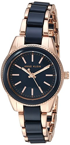 Anne Klein Women's Rose Gold-Tone and Navy Blue Resin Bracelet Watch