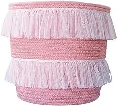 ILOVA Beautiful Lace Storage Basket Pink Set of 2 Toy Storage Decorative Cotton Rope Basket Baby Toy Basket Nursery Storag...
