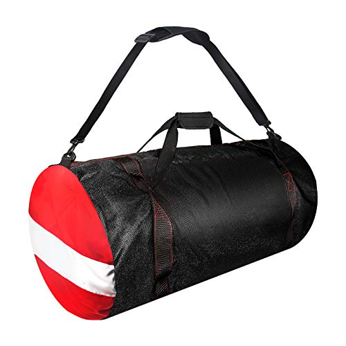 Mesh Dive Duffel Bag, Extra Large Sport Beach Bags with Adjustable Shoulder Strap, Totes and Zipper for Gym Gear, Sports Balls, Scuba Gear, Snorkeling, Diving, Rafting, and Water Sports Black