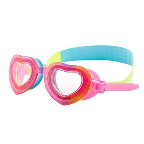 Vikenner Kinder Schwimmbrille, lustige Fisch-Stil Schwimmbrille für Kinder (4-12 Jahre), lecksicher Schwimmbrille für Jungen Mädchen, Anti-Fog & UV Schutz & Schnell zu verstellen Herzform Rot