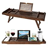 HB-life Bamboo Bathtub Caddy Tray with Extending Sides & Laptop Desk with Foldable Legs,Cellphone iPad Tray and Wineglass Holder,Free Soap Holder (Brown)