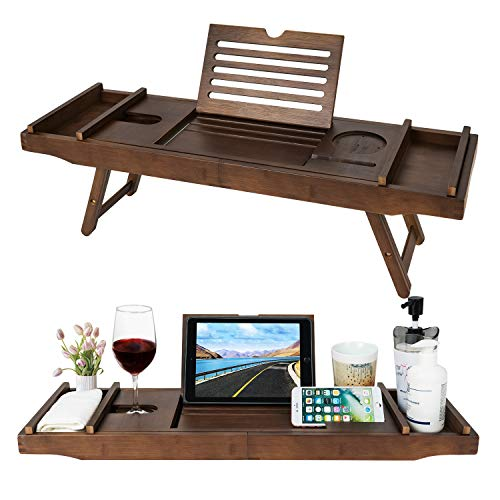 HB-life Bamboo Bathtub Caddy Tray with Extending Sides & Laptop Desk with Foldable Legs,Cellphone iPad Tray and Wineglass Holder,Free Soap Holder...